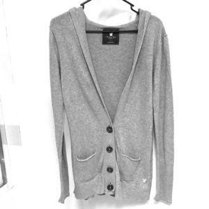 American Eagle Grey Tunic Length ButtonUp Cardigan